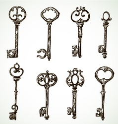 Set of vintage keys drawings vector image