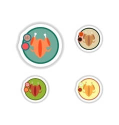 Set stickers roasted chicken on a plate vector