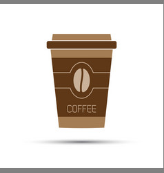 Simple icon paper cup of coffee with coffee bean vector