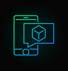 smartphone with cube colored icon vector image