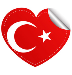 Sticker design for turkey flag in heart shape vector