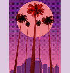 summer beatiful sunset backgrounds with palms vector image