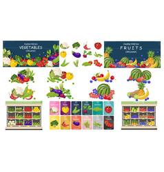 supermarket fruits and vegetables store set bundle vector image