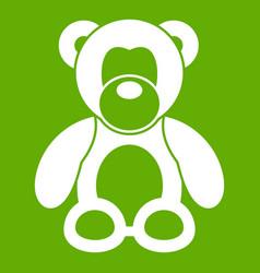 teddy bear icon green vector image