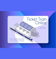 ticket train online vector image