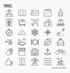 Travel and vacation related thin line icons vector