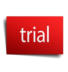 Trial red paper sign on white background vector