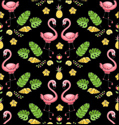 tropical ornament with exotic flamingo birds vector image