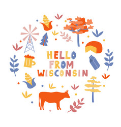 Usa collection hello from wisconsin theme state vector