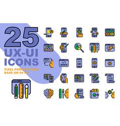 ux ui application outline color icons set base vector image