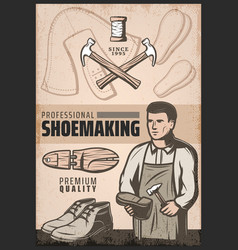 Vintage colored shoemaking poster vector