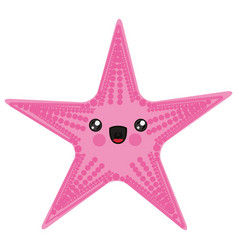 White background with cartoon pink starfish vector