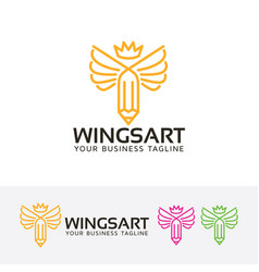 Wings art logo design vector