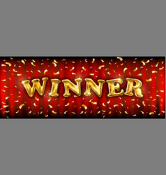 Winner banner with golden ballons for winners of vector