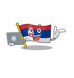 With laptop flag serbia isolated with the vector