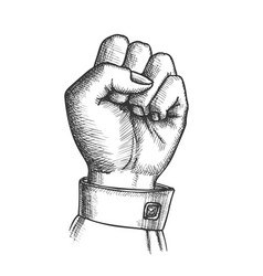 woman hand clenched finger in fist gesture vector image