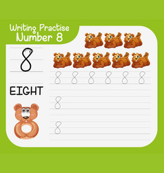 Writing practice number eight vector
