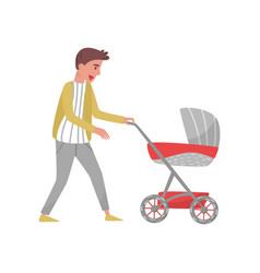 young parent walking outdoor with baby in stroller vector image