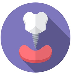 Flat design modern of tooth implant icon with long vector image