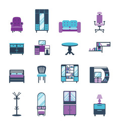 Furniture icons home design modern living room vector