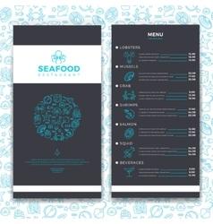 Modern seafood restaurant cafe brochure menu vector image