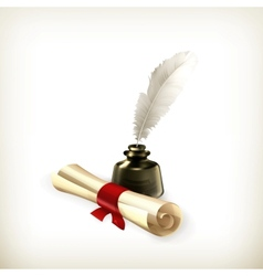 Ancient scroll and feather vector image