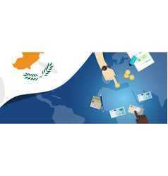 Cyprus economy fiscal money trade concept vector