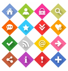 Flat basic icon set rounded rhomb web button vector image vector image