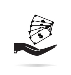 pictograph of money in hand on white background vector image