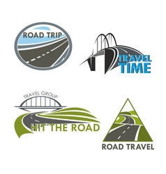 road travel time icons vector image