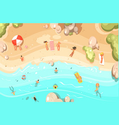 summer sandy beach with vacationers vector image vector image