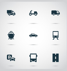 Transportation icons set collection of tanker vector