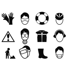 work safety icons set vector image