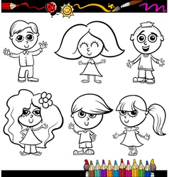 children cartoon set for coloring book vector image