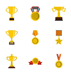 Competition and success icons set flat style vector