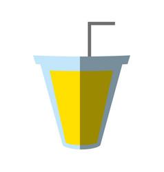 soda cup straw juice shadow vector image vector image