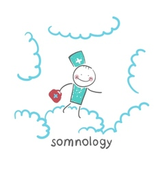 somnology flying in the sky in the clouds vector image