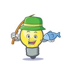 fishing light bulb character cartoon vector image