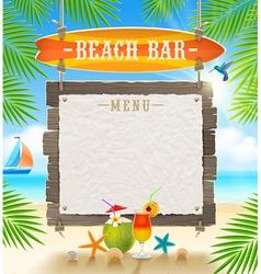 Tropical beach bar signboard and menu banner vector