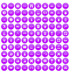 100 shipping icons set purple vector