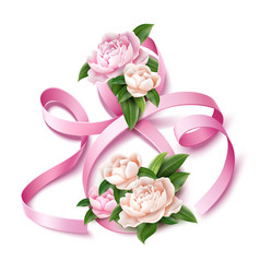 8 of march eight silk ribbon peony flower vector