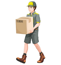 A delivery man with a big box vector
