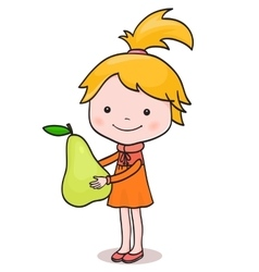 A little girl standing with big pear in her hands vector