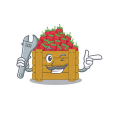 A picture cool mechanic strawberry fruit box vector