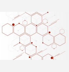 abstract red geometric hexagons molecular vector image