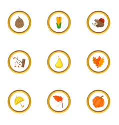 autumn season icons set cartoon style vector image