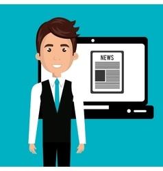 Avatar man news icon vector
