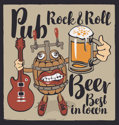 banner for rock-n-roll pub with funny beer barrel vector image