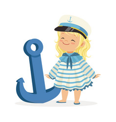 Beautiful blonde little girl character wearing a vector