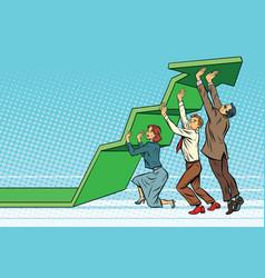 Business team lift up growth chart vector